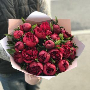 Букет из 19 красных пионов — Букеты цветов