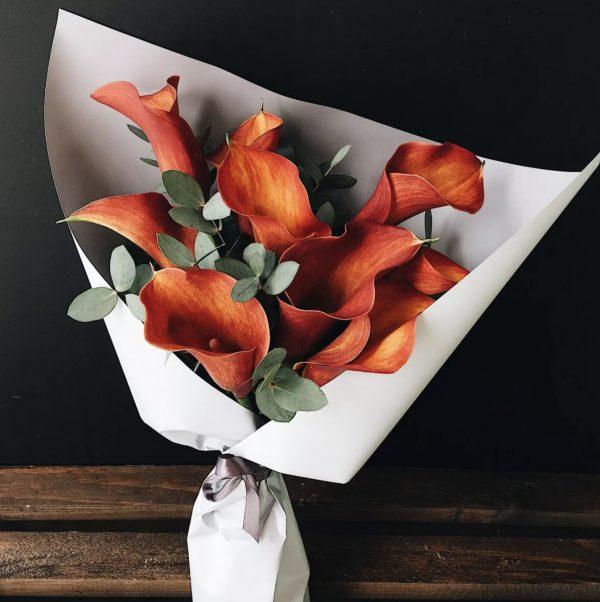 Букет из коралловых калл — Букеты цветов