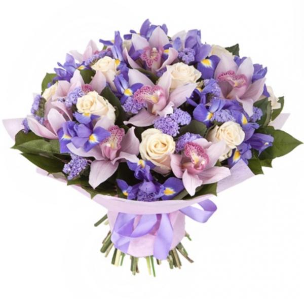 Букет из ирисов и орхидей — Букеты цветов