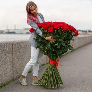Букет из 101 розы 120 см — Букеты цветов