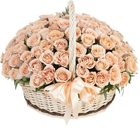 Корзина из 101 розы каппуччино