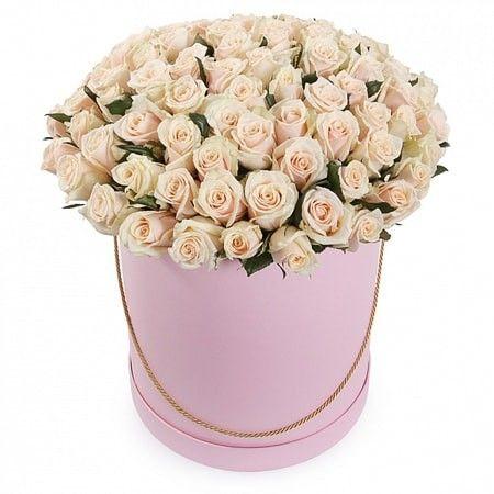 101 кремовая роза в коробке