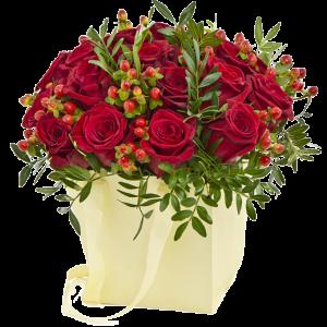 Коробка из альстромерий и роз — Альстромерии