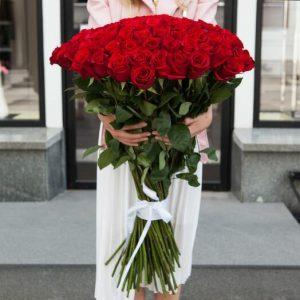 Букет из 51 розы 100 см — Букеты цветов