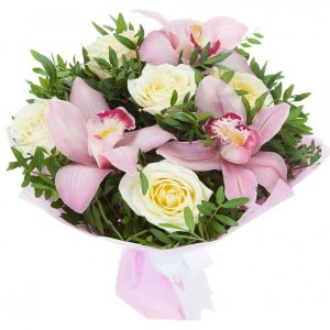 Букет из орхидей Цимбидиум и роз — Букеты цветов