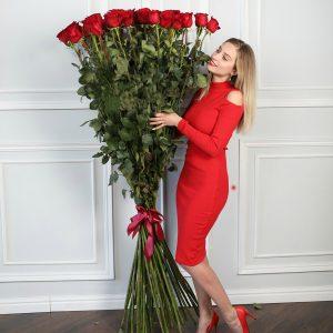 Букет из 51 розы 170 см — Букеты цветов