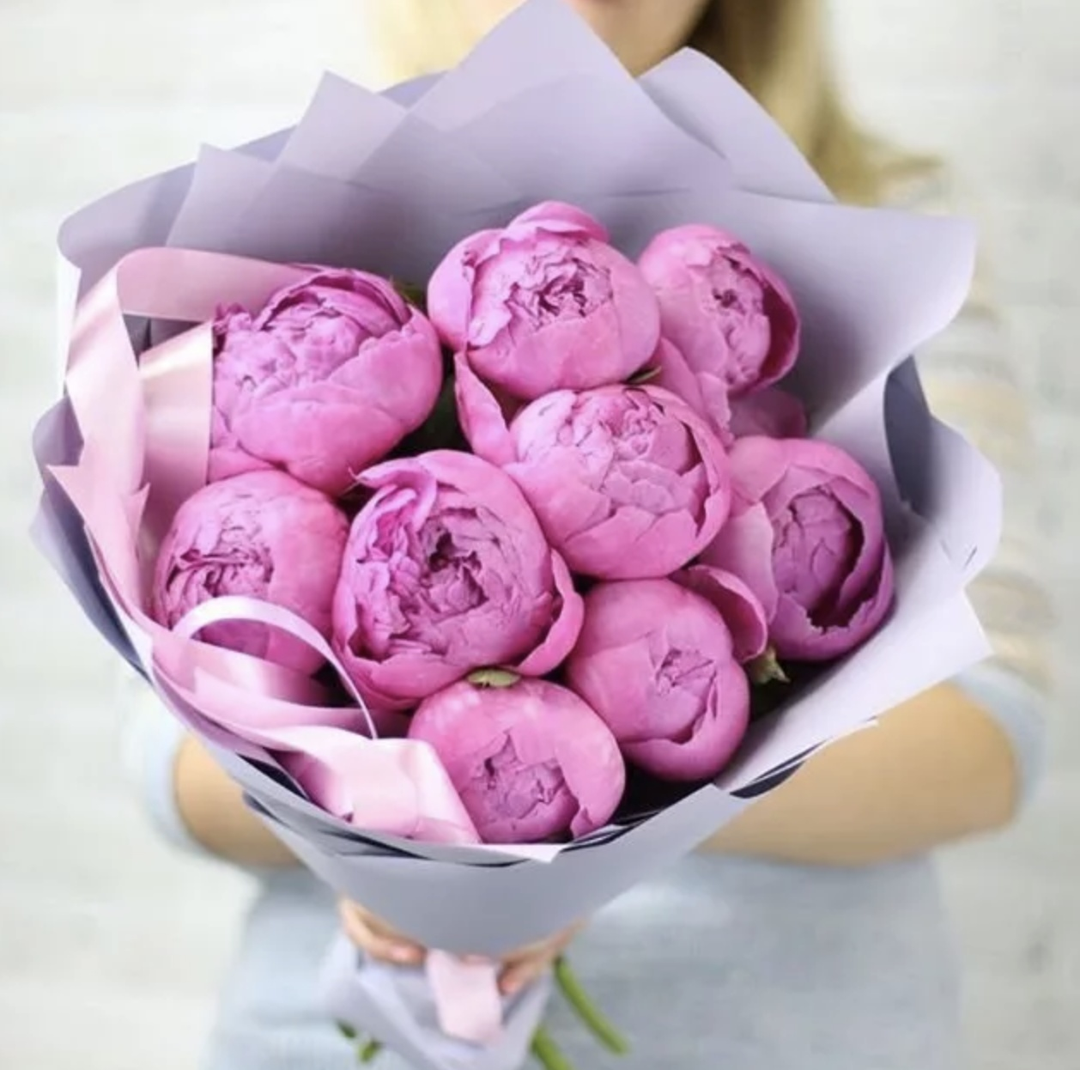 Купить букет пионов розовые в москве недорого, букет