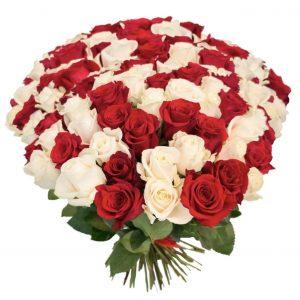 Букет из 101 белой и красной розы — Букеты цветов