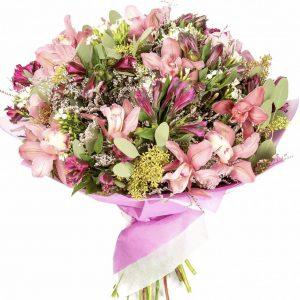Букет из орхидей и альстромерий — Альстромерии