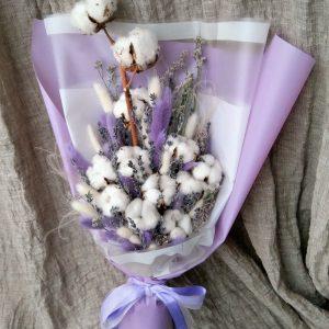 Букет из хлопка и лаванды — Букеты цветов