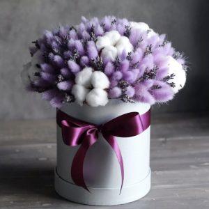 Cухоцветы и хлопок в коробке — Композиции