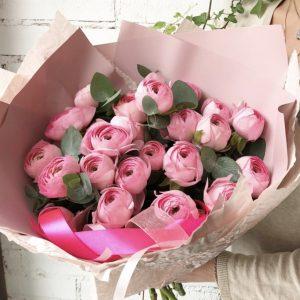 Букет из 35 розовых ранункулюсов