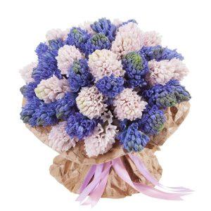 Букет из розовых и синих гиацинтов