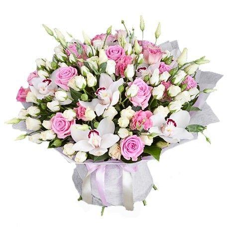 Букет из эустомы, роз, орхидей