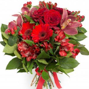 Букет из альстромерий и роз — Альстромерии