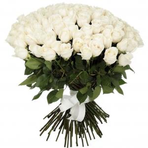 Букет из 101 белой розы — Букеты цветов