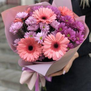Букет из хризантем и гербер «Пинк» — Букеты цветов