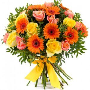 Букет «Сангрия» из гербер и роз — Бизнес букеты