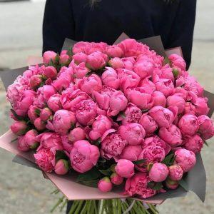 Большой букет из 49 пионов — Букеты цветов