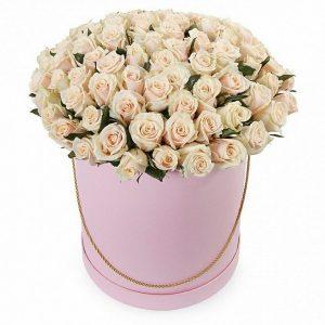 101 кремовая роза в коробке — Композиции
