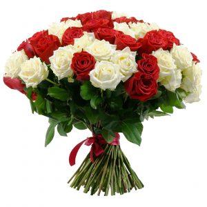 51 белая и красная роза — Букеты цветов