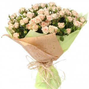 Букет из 19 кустовых кремовых роз