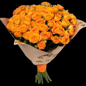 25 кустовых оранжевых роз — Букеты цветов