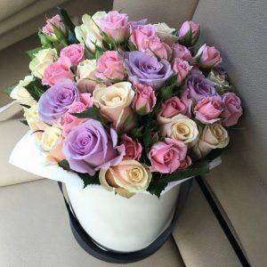 Коробка с розами «Фейерверк» — Композиции