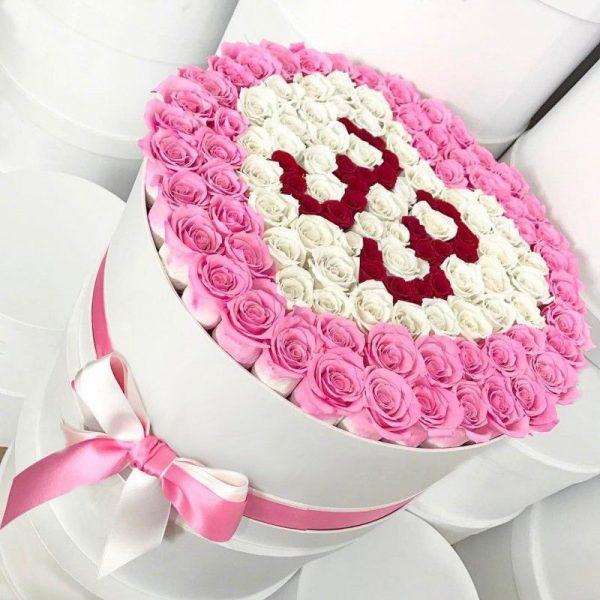 Сердце из 101 розы с датой