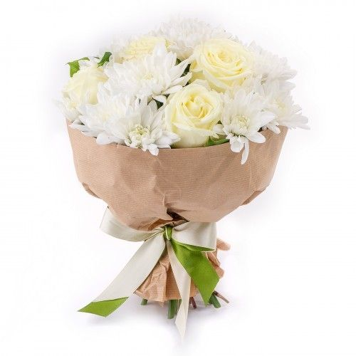"""Букет из хризантем и роз """"Рафаэлка"""""""