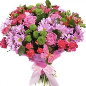 Букет с гвоздиками и хризантемами