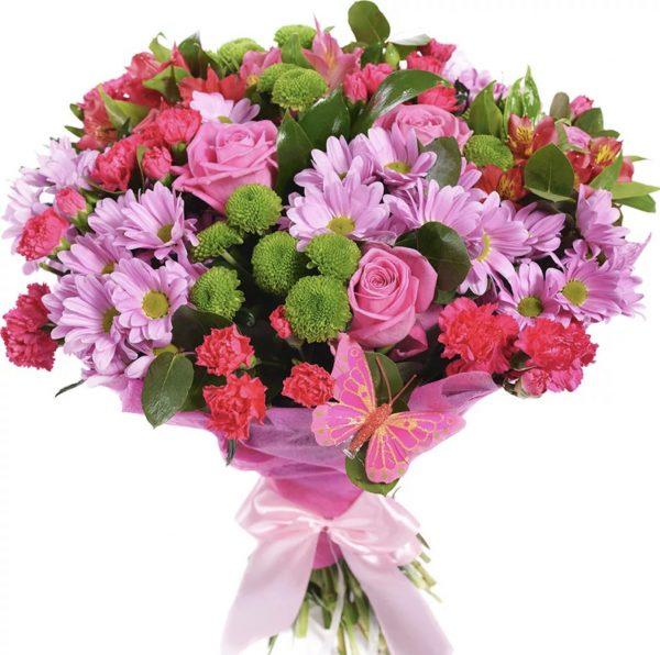 Букет с гвоздиками и хризантемами — Букеты цветов