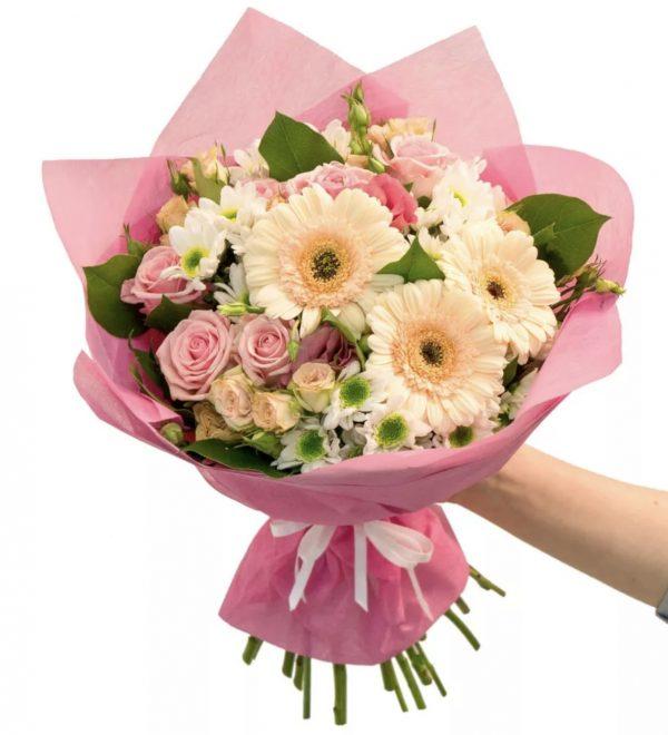 Букет из роз, альстромерий и гербер