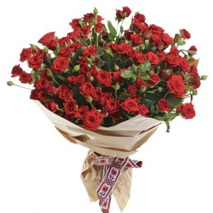 Букет из 25 кустовых красных роз