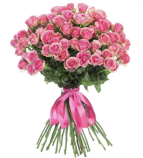 Букет из 35 кустовых розовых роз