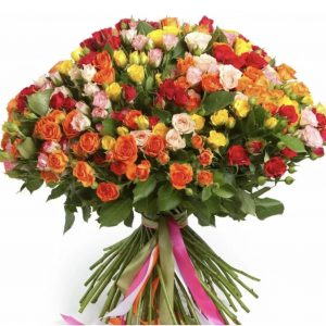 101 разноцветная кустовая роза — Букеты цветов