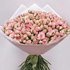 101 розовая кустовая роза — Букеты цветов