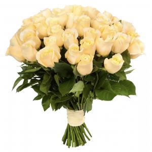 Букет из 25 кремовых роз — Букеты цветов