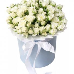 Белые кустовые розы в коробке — Композиции