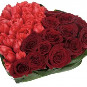 Сердце из тюльпанов и роз