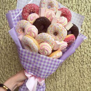 Сладкий букет с пончиками — Детские букеты