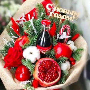 Новогодний букет «Санта» — Букеты из фруктов