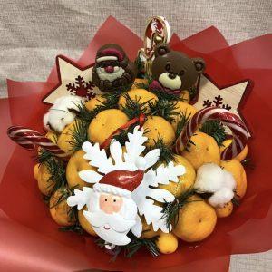 Новогодний букет «Мандаринка №1» — Букеты из фруктов