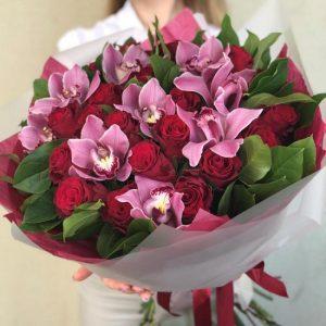 Букет «Пандора» из роз и орхидей — Букеты цветов