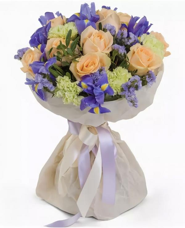 Букет из гвоздик и ирисов — Букеты цветов