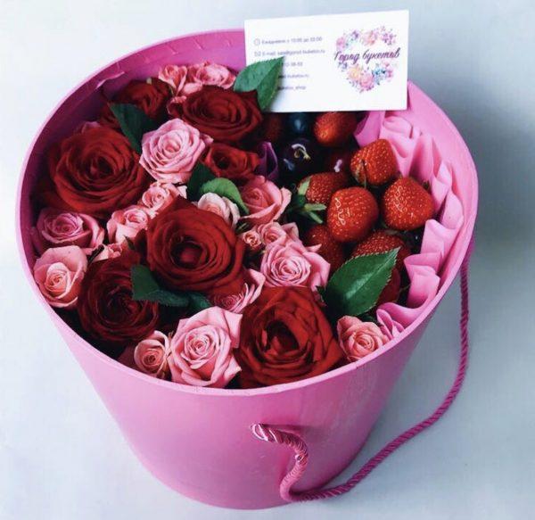 Флобокс из сладких ягод и цветов — Композиции