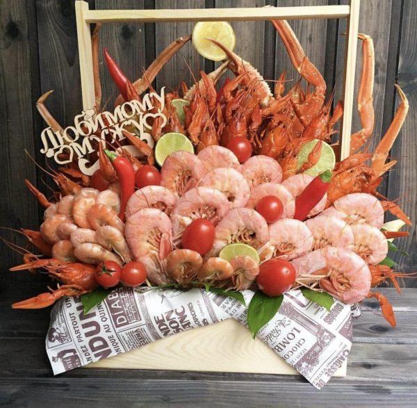 Набор из морепродуктов «Атлантик» — Букеты из креветок для мужчин