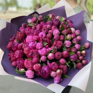 Большой букет из 101 пионов — Букеты цветов