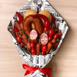 Букет из охотничьих колбасок «Краков» — Мужские букеты