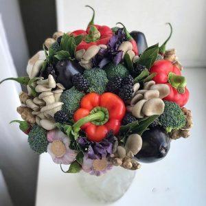 Овощной букет с грибами — Съедобные букеты